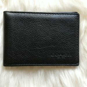 Coach Slim Billfold Id Black Wallet
